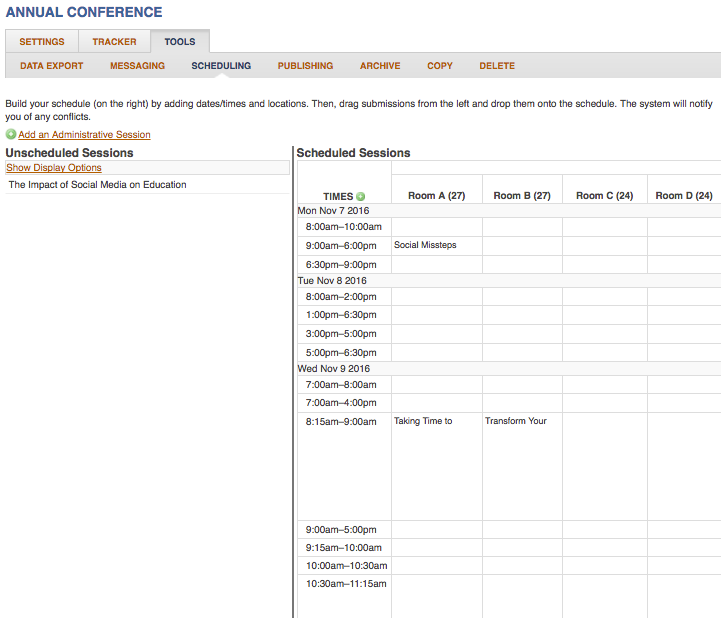Screenshot of the Advanced Scheduling page